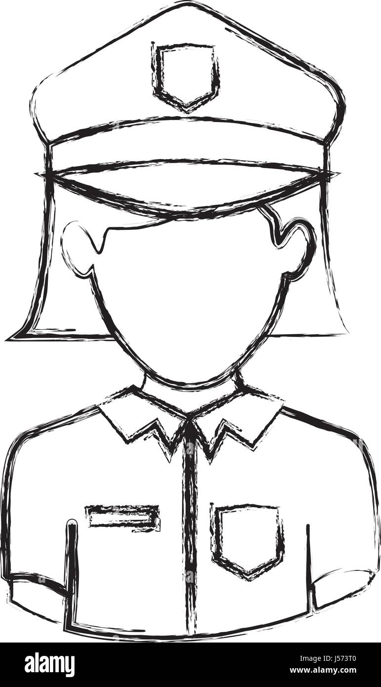 monochrome blurred contour with half body of faceless policewoman - Stock Image