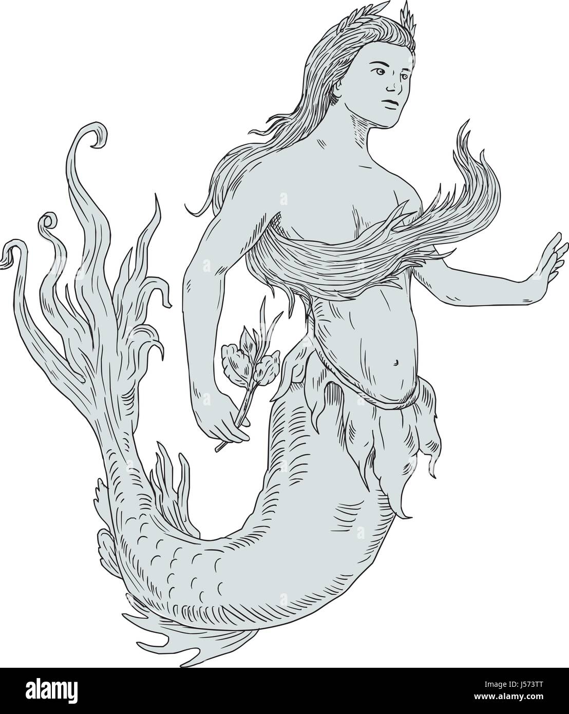 Drawing Sketch Style Illustration Of A Vintage Mermaid Holding
