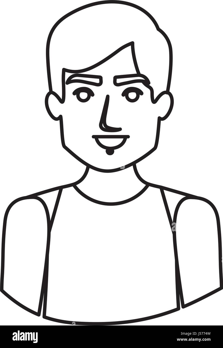 monochrome contour half body of male dancer - Stock Vector