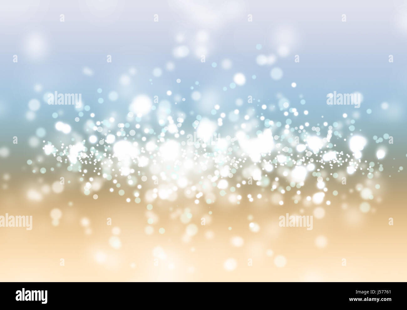 Light grey, blue and yellow bokeh background - Stock Image