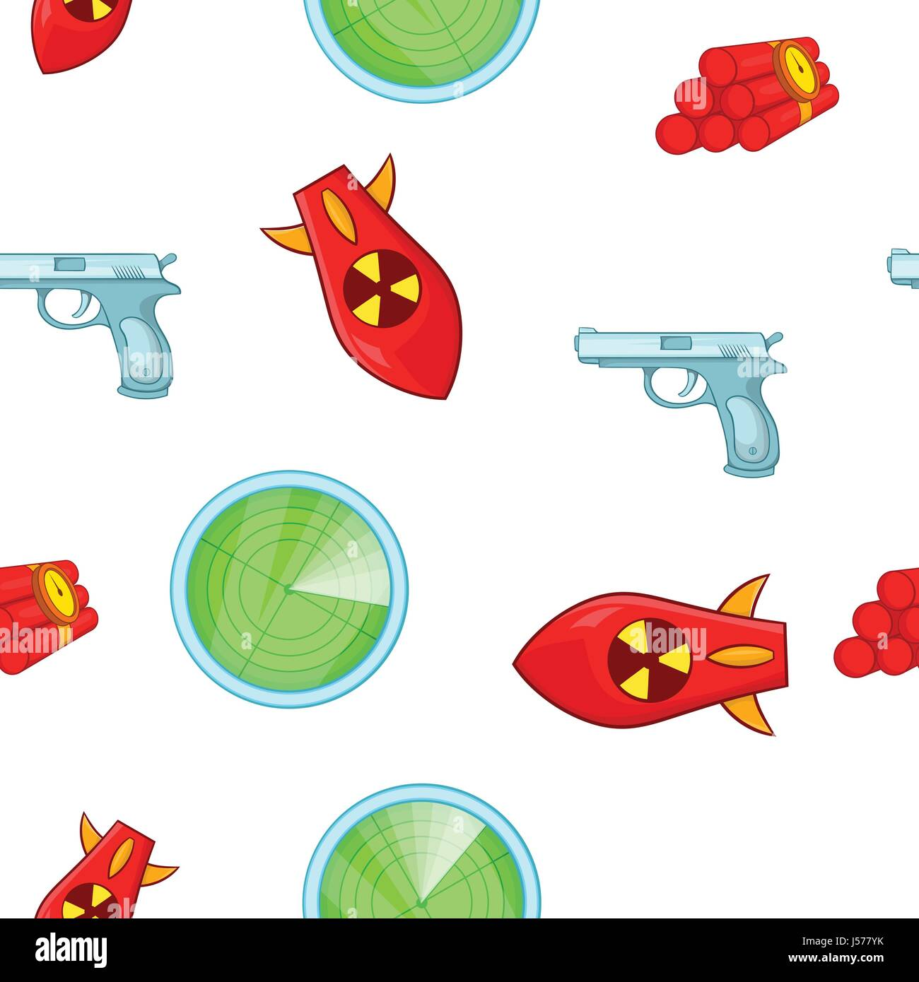 Weaponry pattern, cartoon style - Stock Image