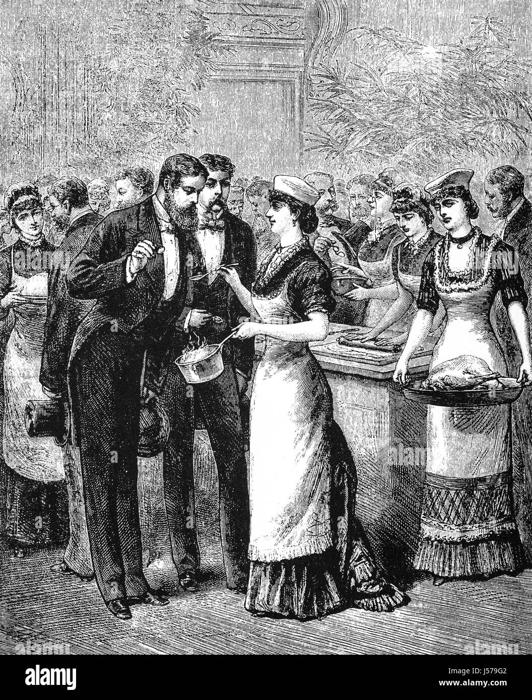 1879: Guests sampling food at the American School of Cookery, City of Philadelphia, Pennsylvania, United States - Stock Image