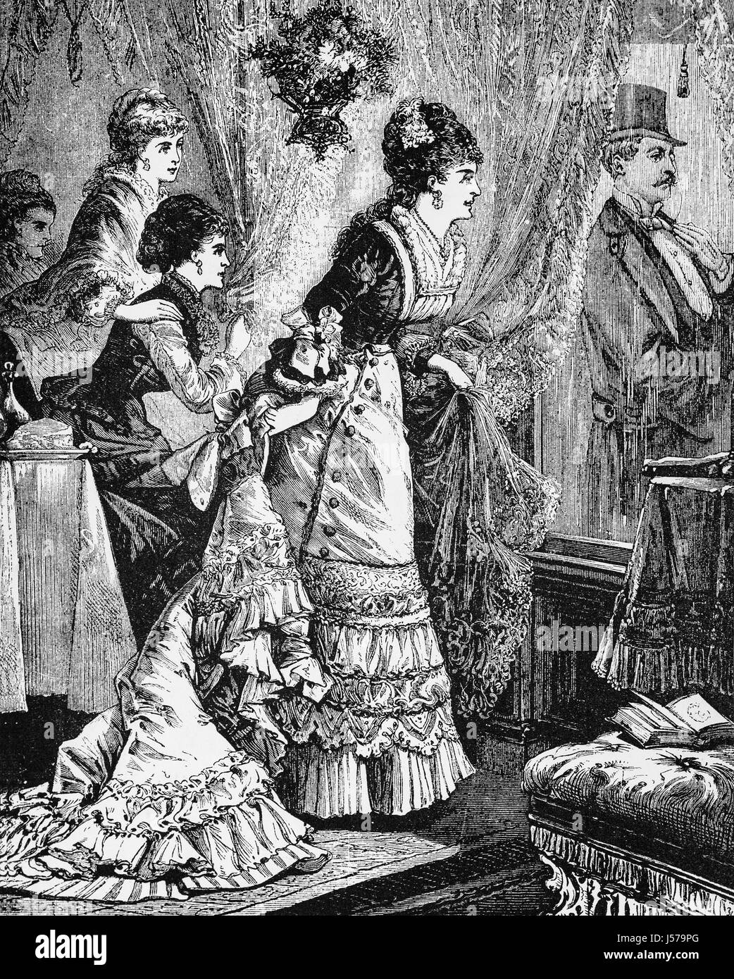 1880: Guests at a New Year Party in New York City, New York State, United States of America - Stock Image
