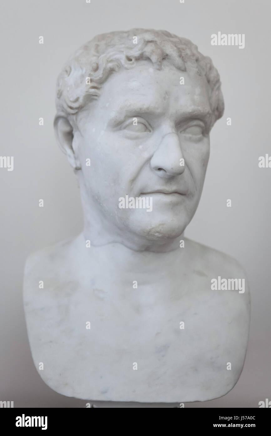 Marble bust of Roman republican statesman Lucius Cornelius Lentulus, who was the consul of the Roman Republic in Stock Photo