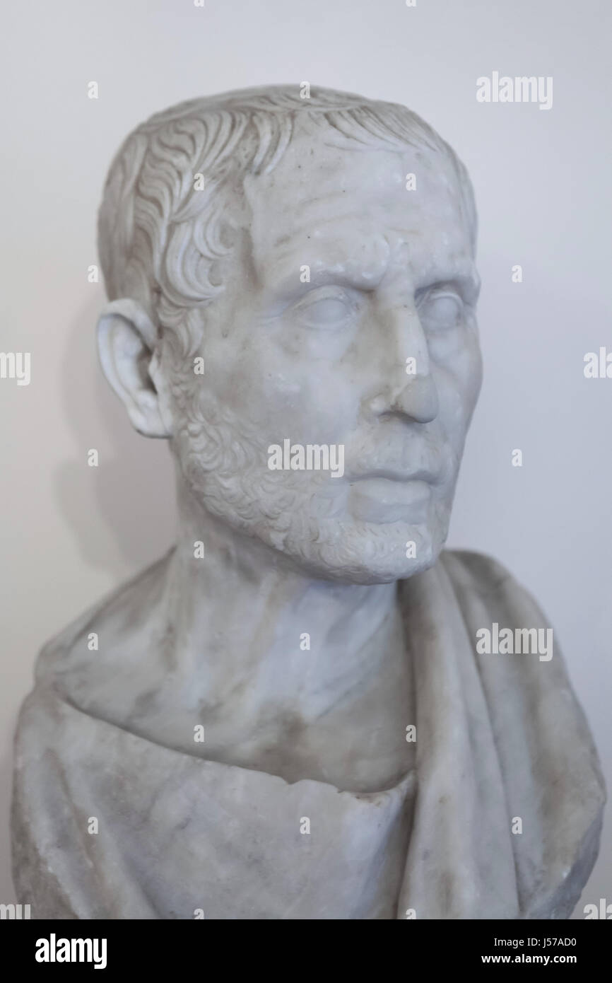 Marble bust of Greek Stoic philosopher Posidonius (135-51 BC). Roman copy from the Augustan age after a Roman original - Stock Image