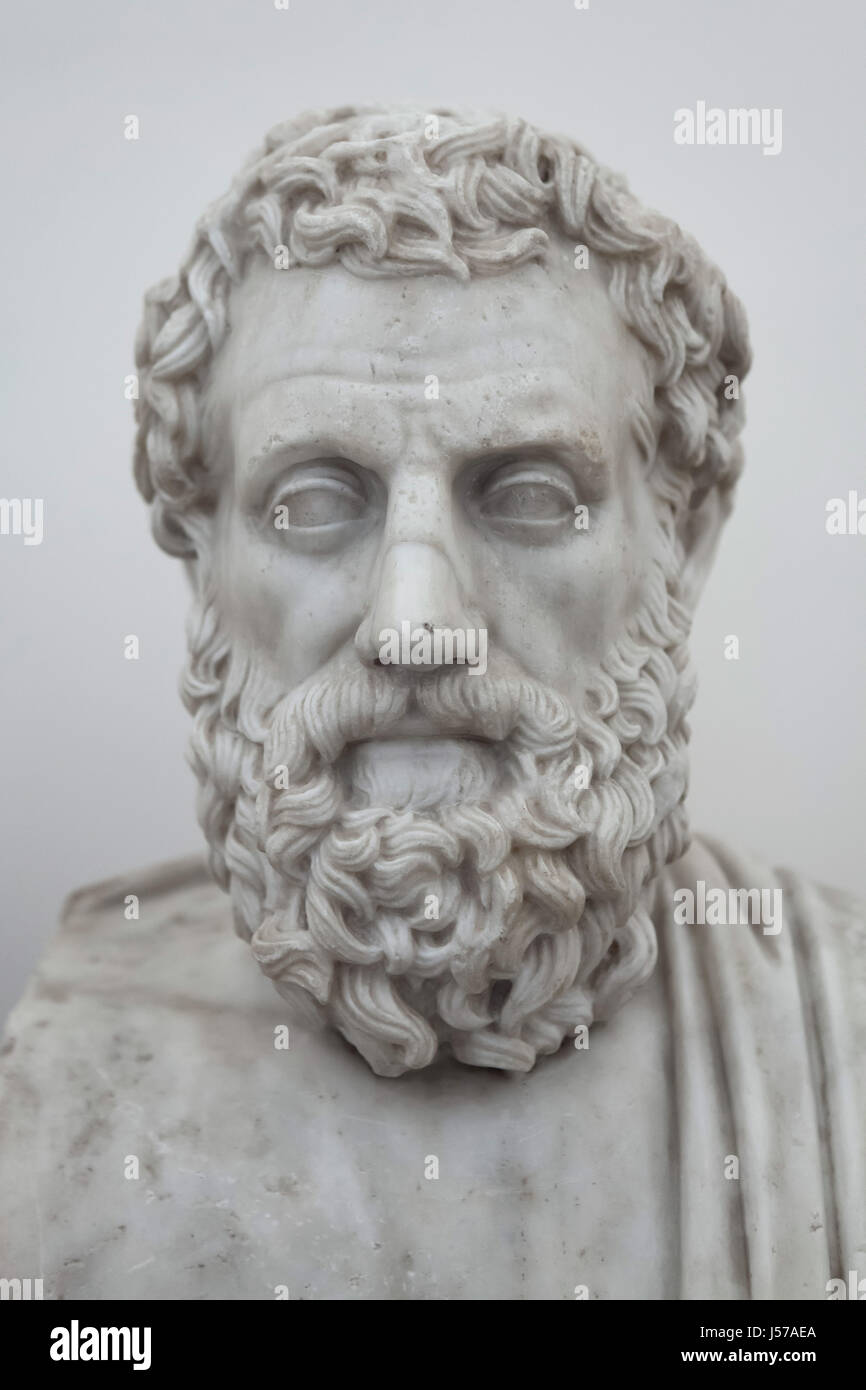 Marble bust of ancient Greek tragedian Aeschylus (525-456 BC). Roman copy from the Augustan age after a Greek original Stock Photo