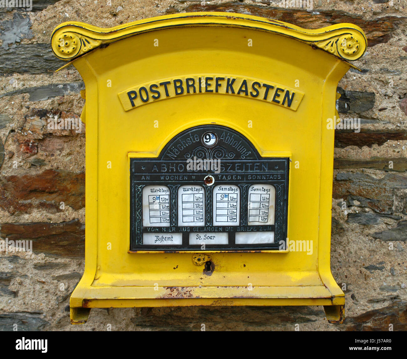 Detail Historical Antique Mailbox Mail Mailboxes Post Yellow Business Stock Photo Alamy