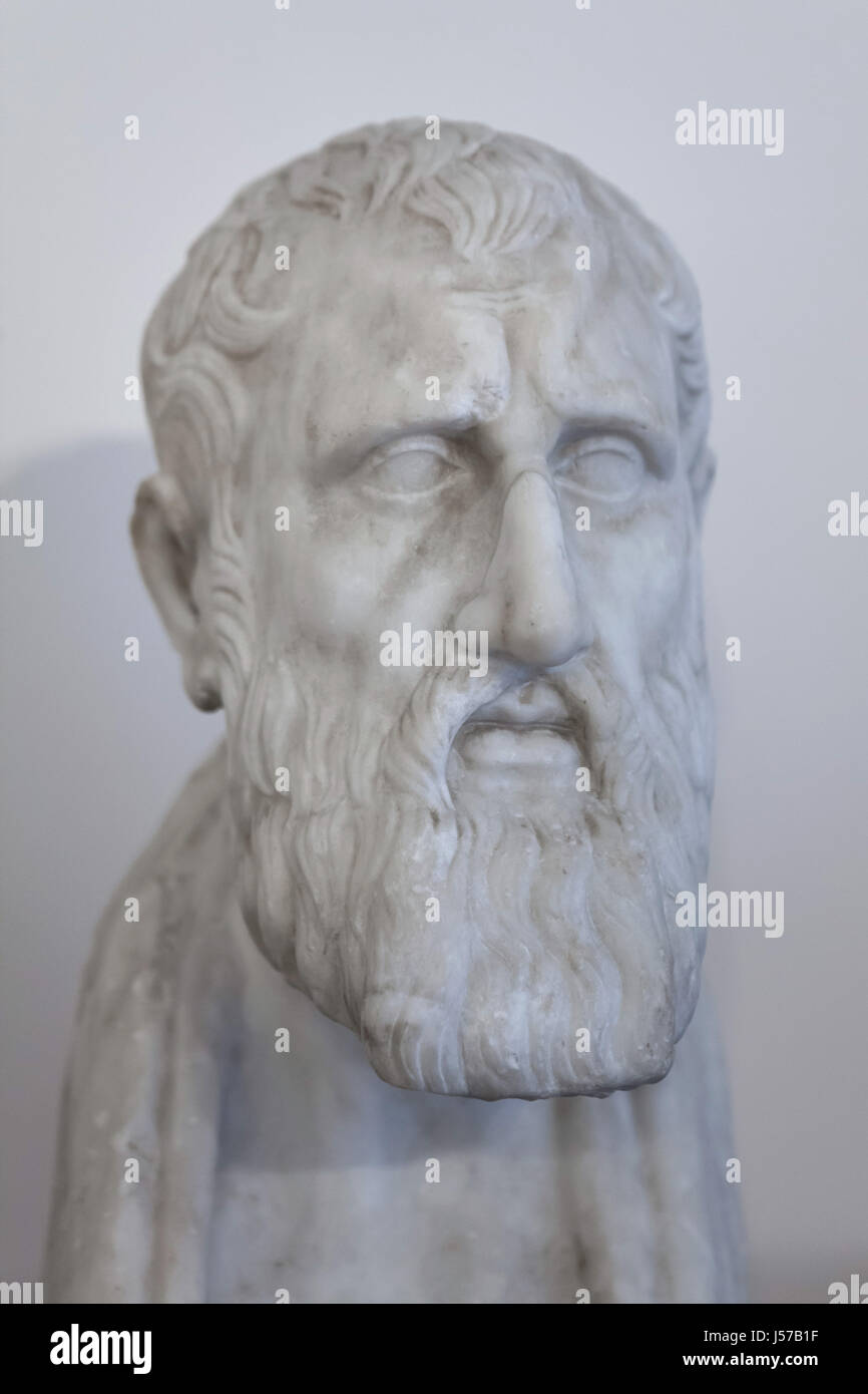 Marble bust of Greek Stoic philosopher Zeno of Citium (334-262 BC). Roman copy from the Augustan age after a Greek - Stock Image