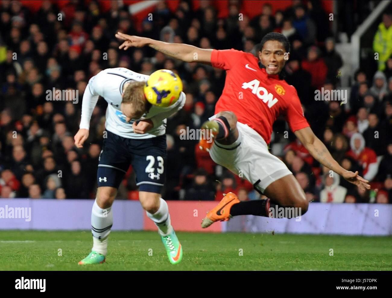 CHRISTIAN ERIKSEN SCORES 0.2 MANCHESTER UNITED FC V TOTTENH OLD TRAFFORD MANCHESTER ENGLAND 01 January 2014 - Stock Image