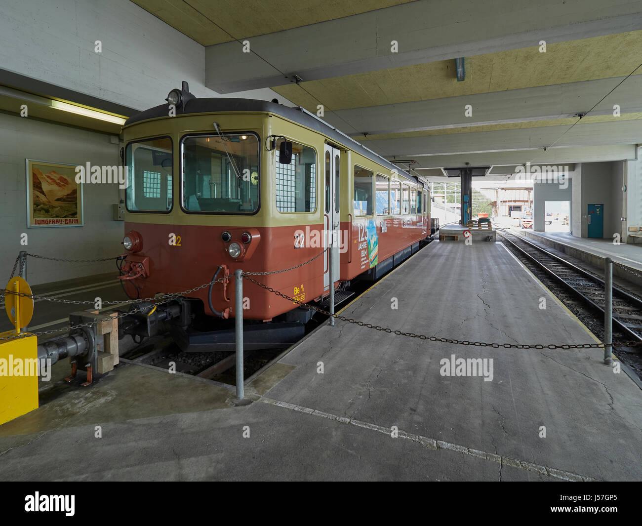 Switzerland Murren the railway station and mountain train to Grutschalp via Winteregg - Stock Image