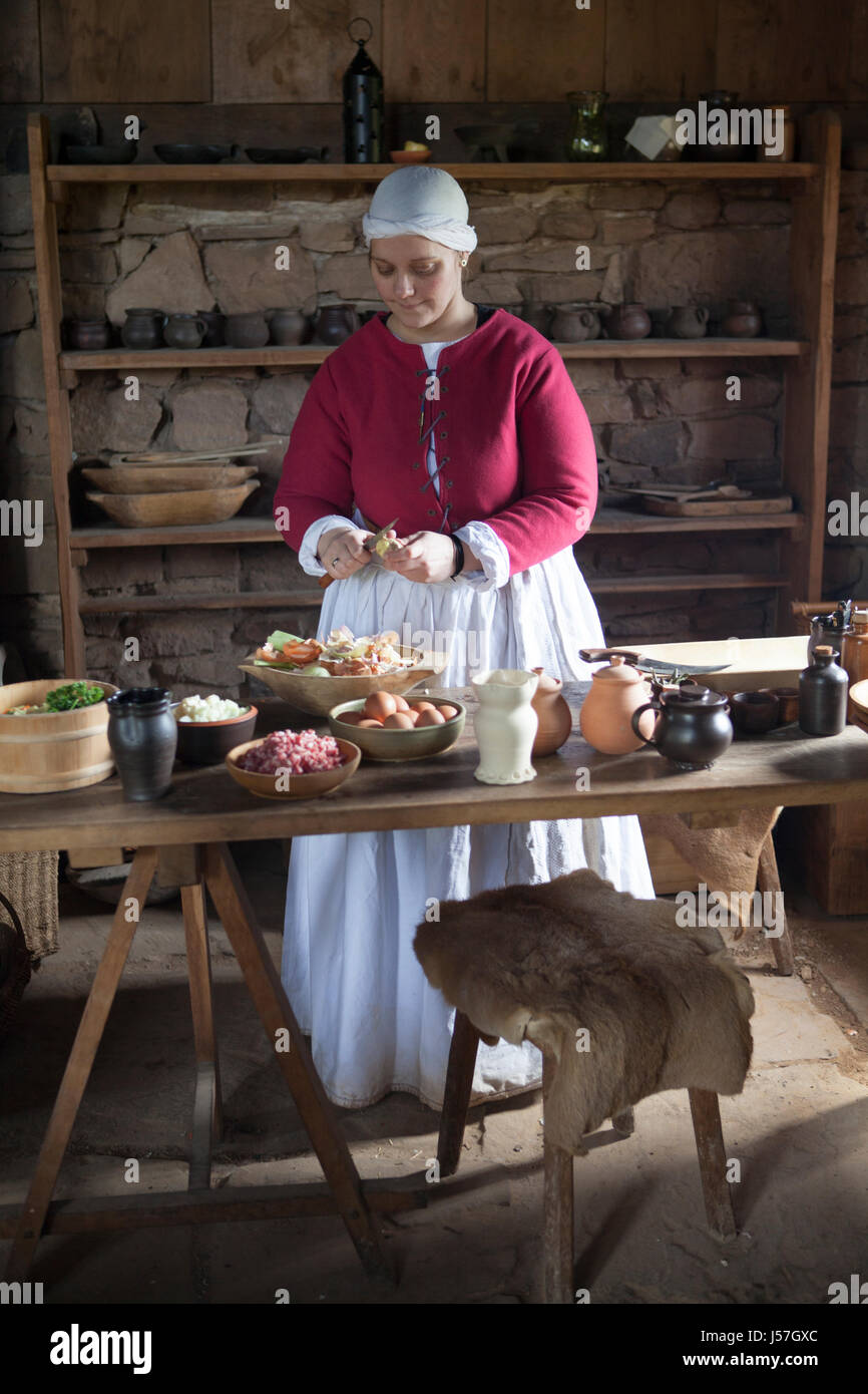 Cooking by a reenactment group, reconstructed medieval house, Nienover, Bodenfelde, Lower Saxony, Germany Stock Photo
