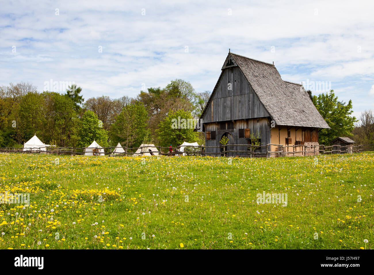 The reconstructed medieval house, Nienover, Bodenfelde, Lower Saxony, Germany Stock Photo