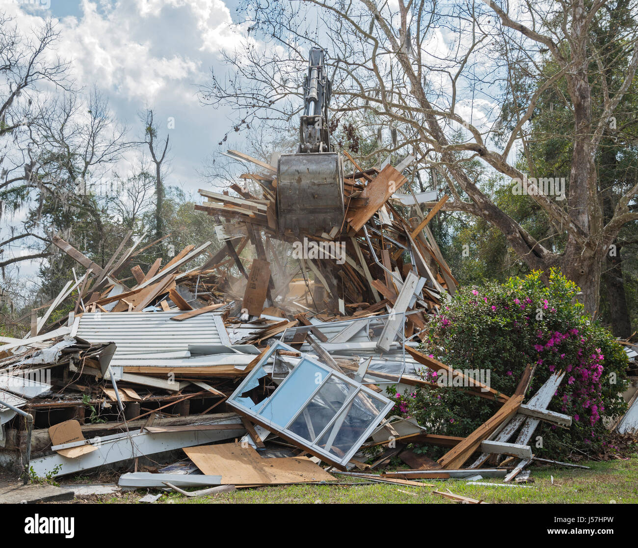 Old church being demolished in North Florida small town. - Stock Image