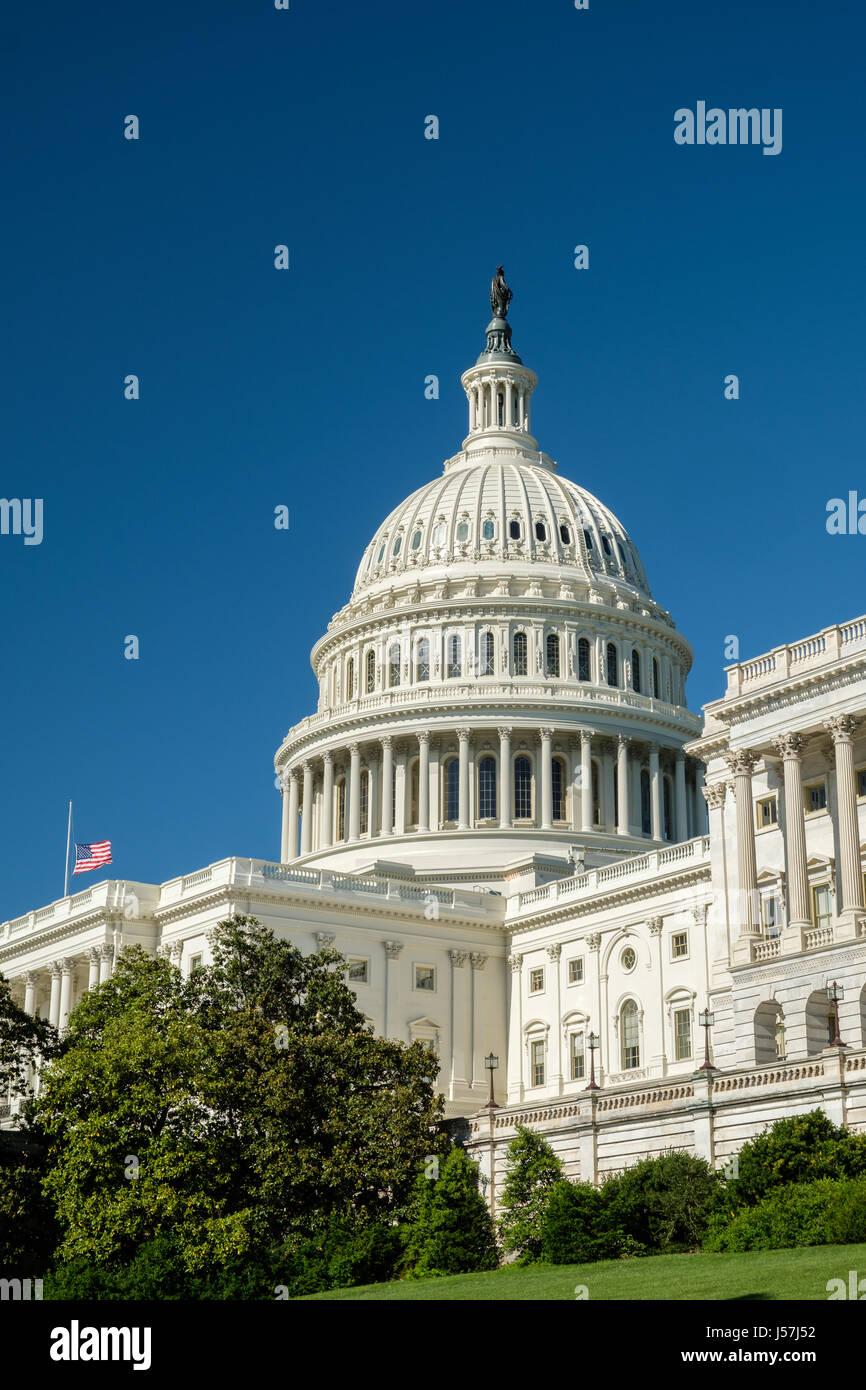 Profile of U.S. Capitol with Flag, Washington, DC - Stock Image