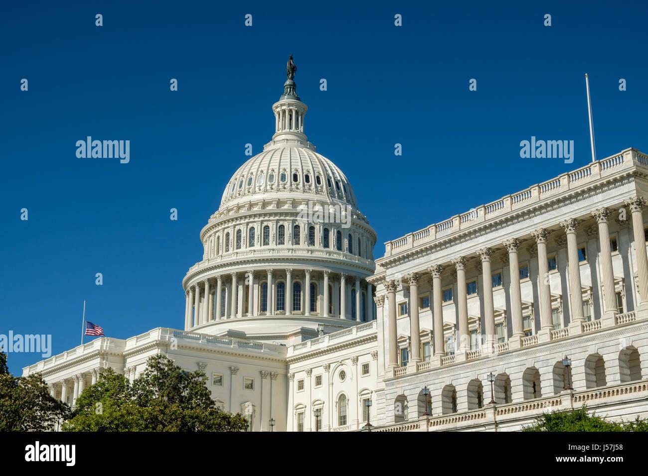 U.S. Capitol with Blue Sky, Washington, DC - Stock Image