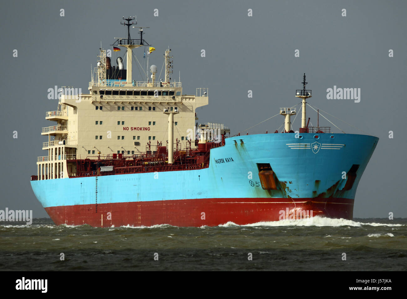 The tanker Maersk Kaya passes Cuxhaven on the Elbe. - Stock Image