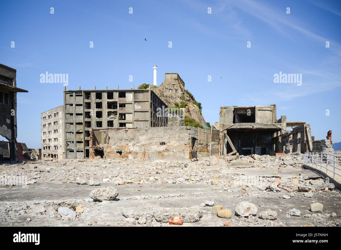 Nagasaki, Japan - March 17, 2016: Hashima island also known as the Battleship Island in Nagasaki, Japan. Buildings - Stock Image