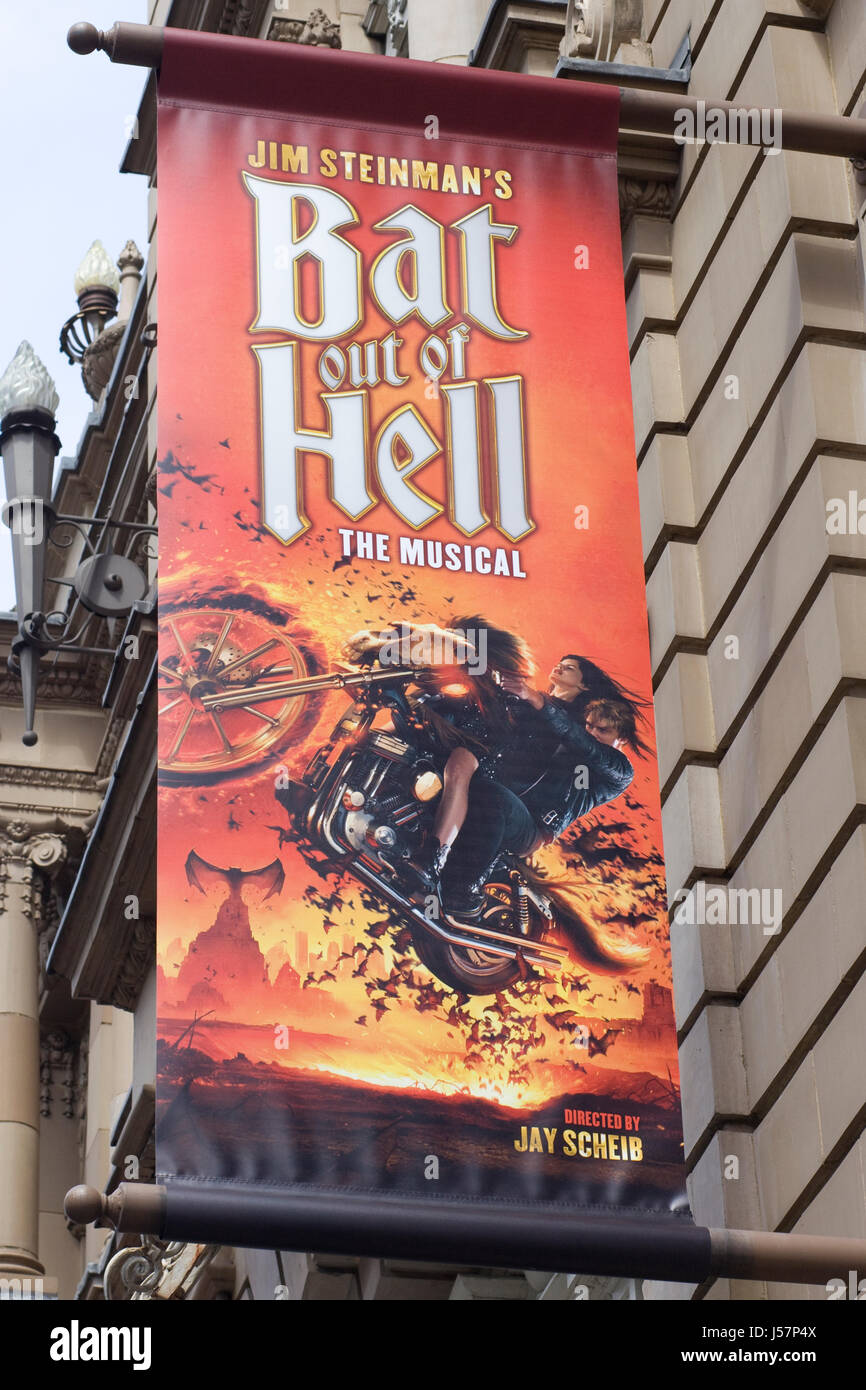advertising poster for Bat Out Of Hell The Musical - Stock Image
