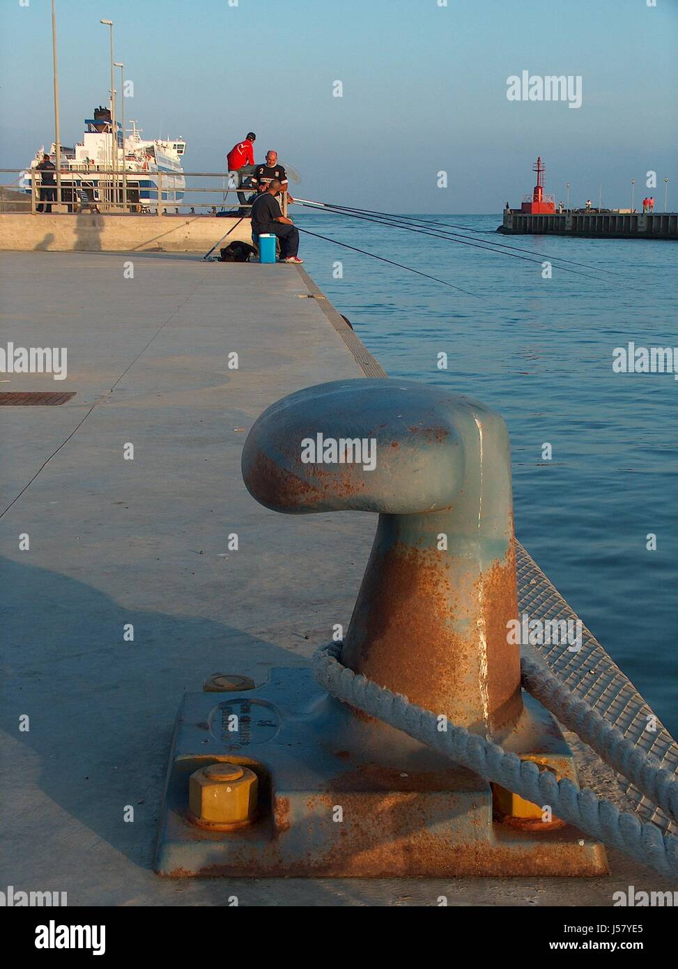 seafaring,fish,harbor,wall,harbours,angler,rope,water,kaimauer,faehre - Stock Image