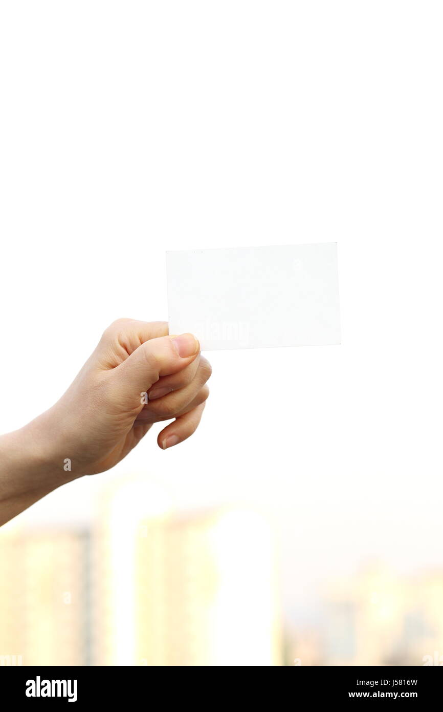 Woman Hand Holding Business Card Stock Photo: 140932817 - Alamy