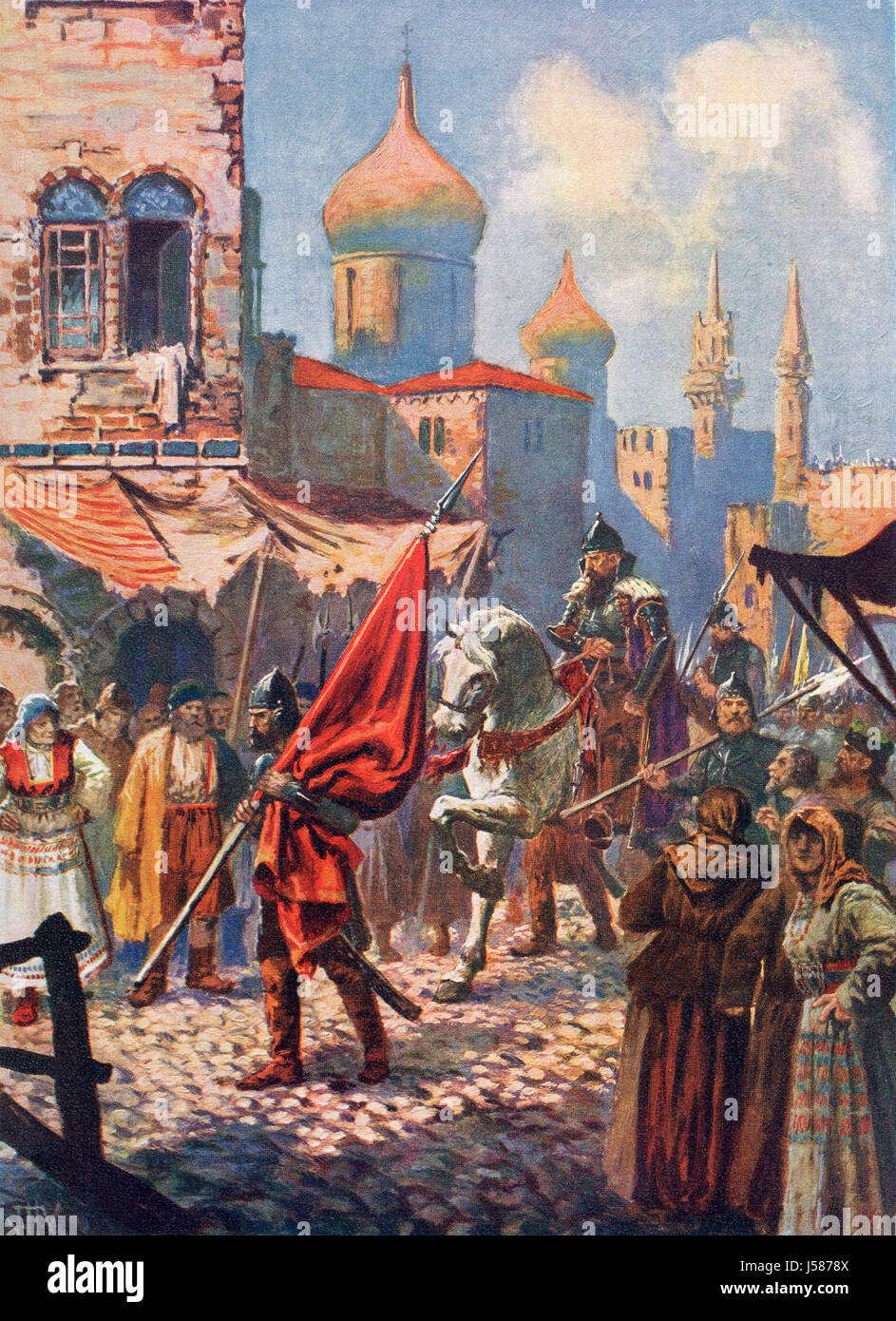 The return of Ivan the Terrible to Moscow, Russia after the conquest of Kazan in 1552.  Ivan IV Vasilyevich, 1530 - Stock Image