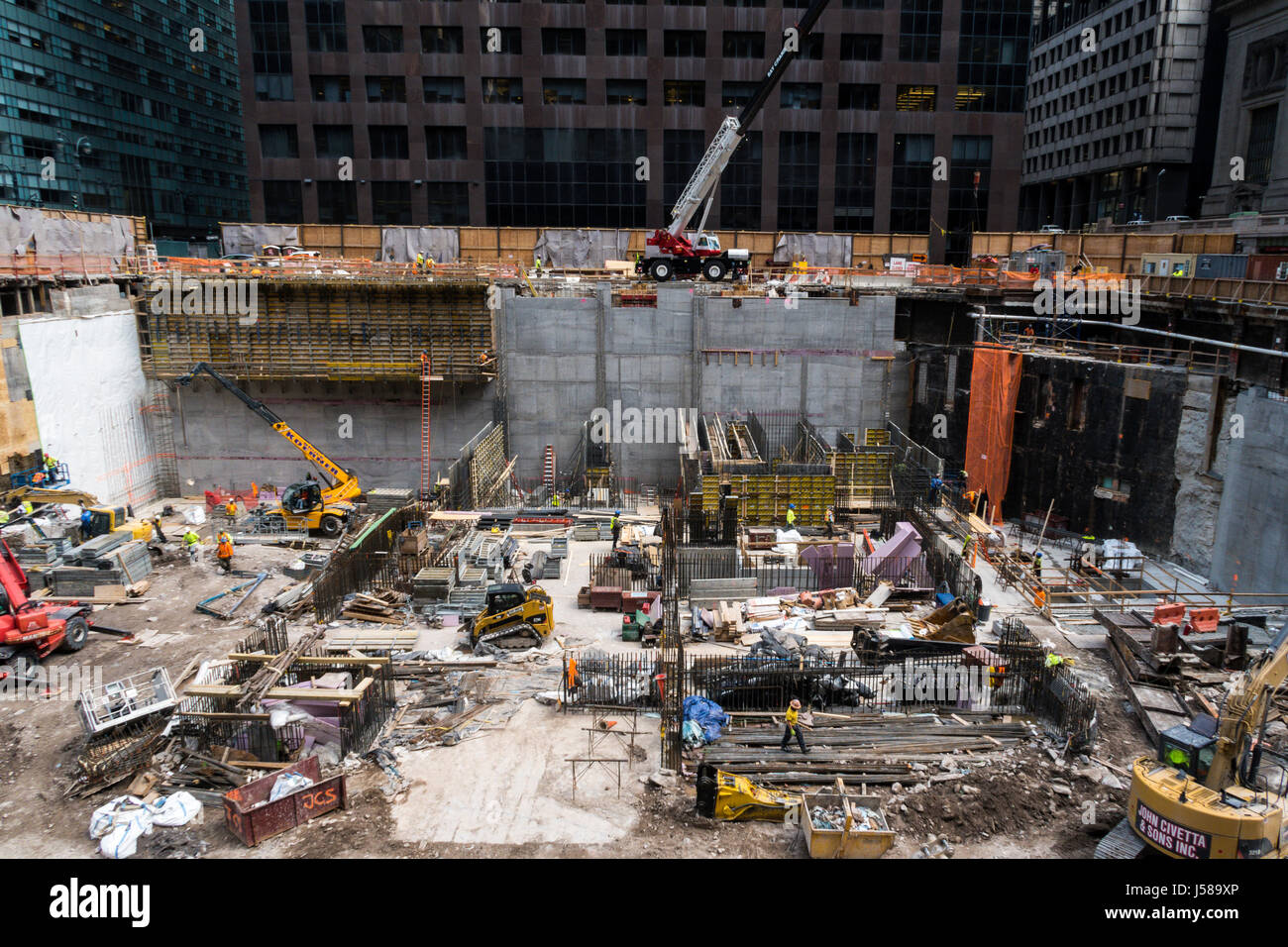 Construction Site in New   with Tradesmen ,York City, USA Stock Photo