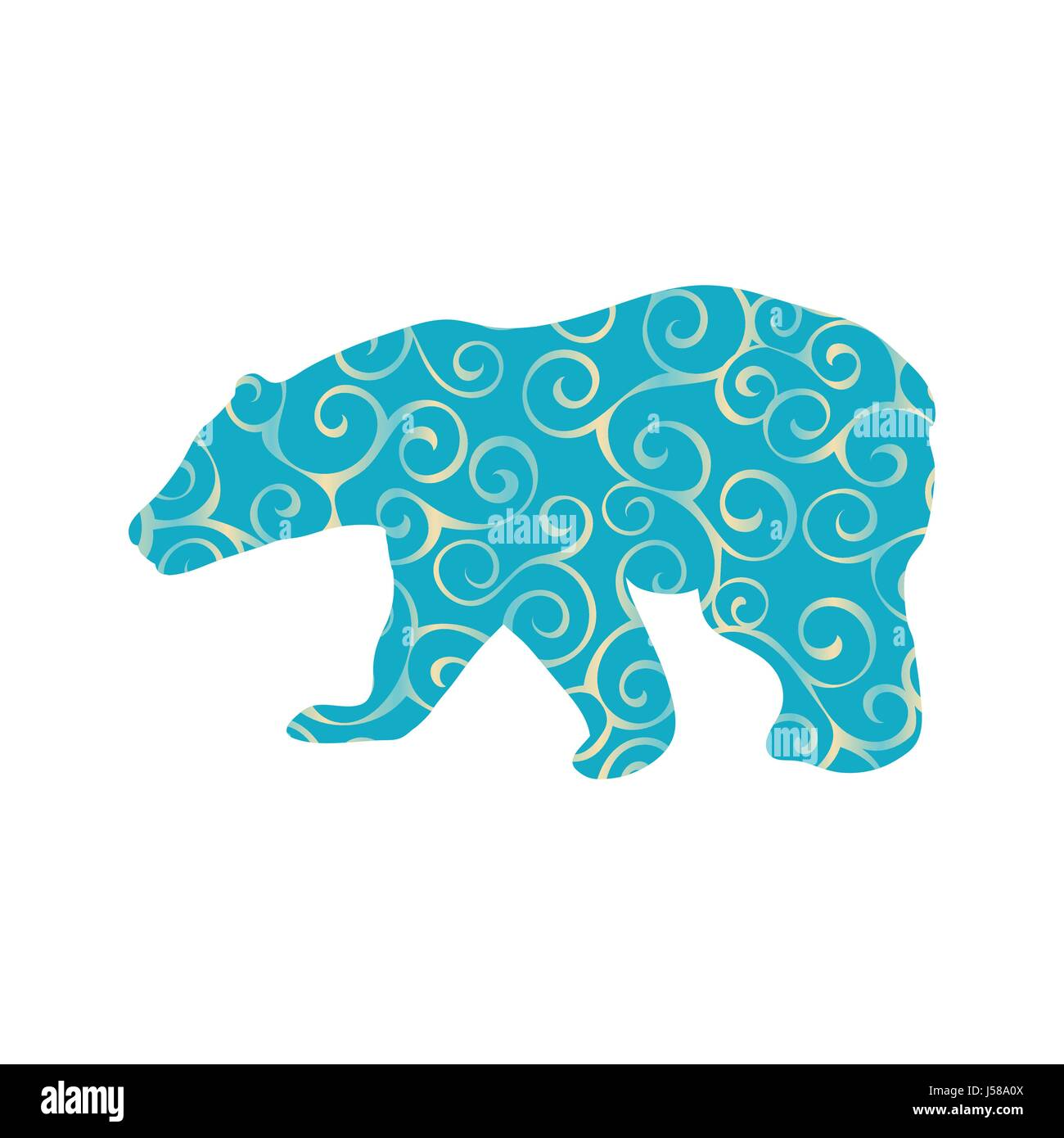 Bear wild color silhouette animal - Stock Vector