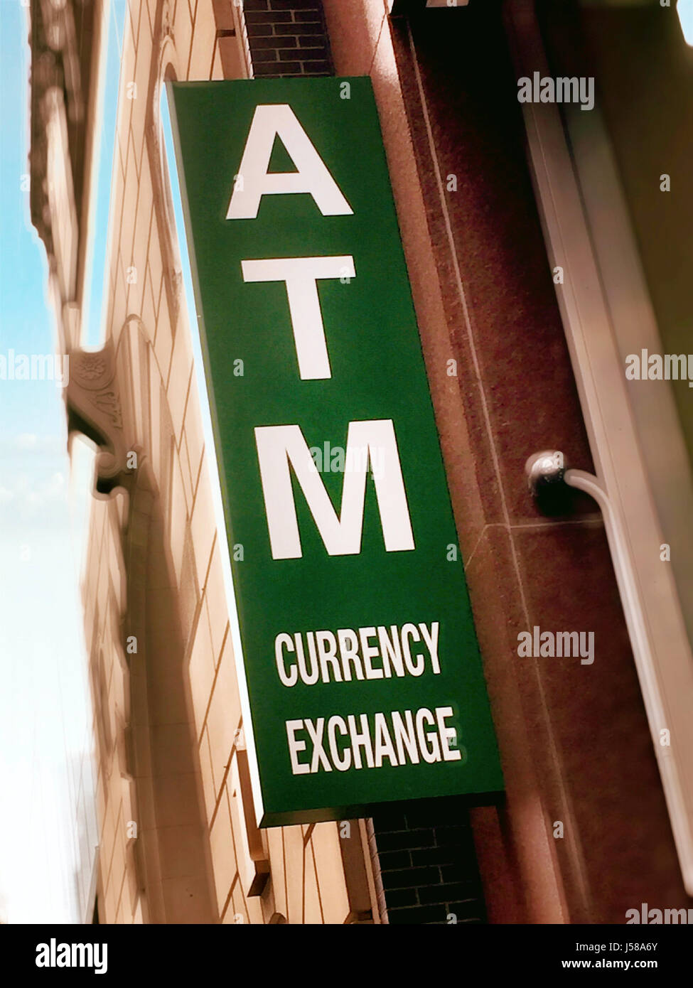 Atm And Currency Exchange Sign Nyc Usa Stock Photo