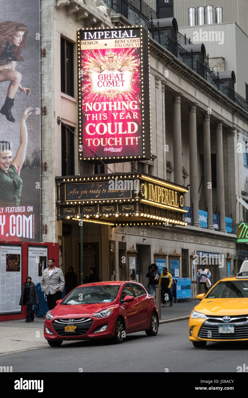 Great Comet of 1812 Marquee at the Imperial Theatre in Times Square, New York City, USA Stock Photo