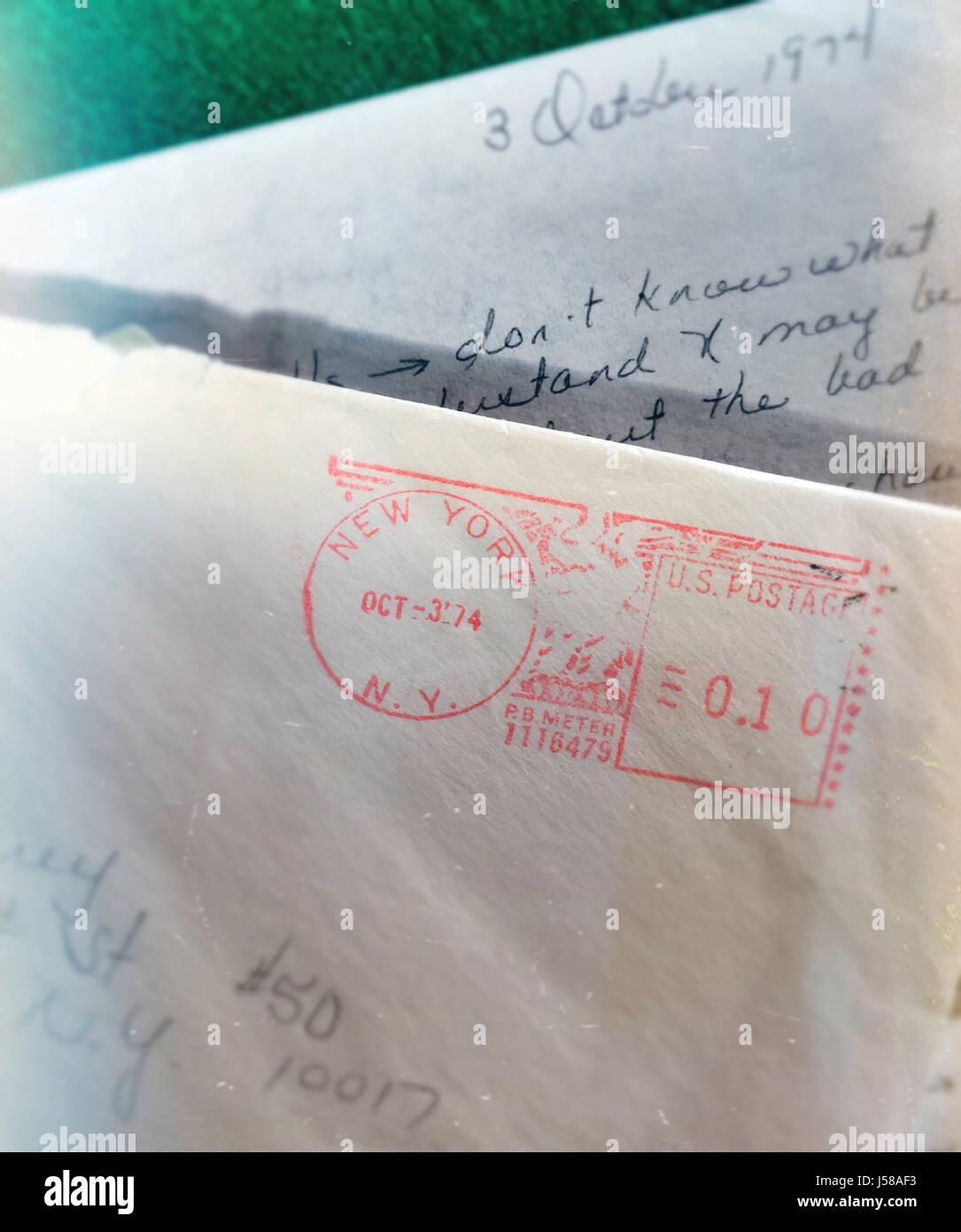 Vintage 1974 Letter with Postmark, USA - Stock Image