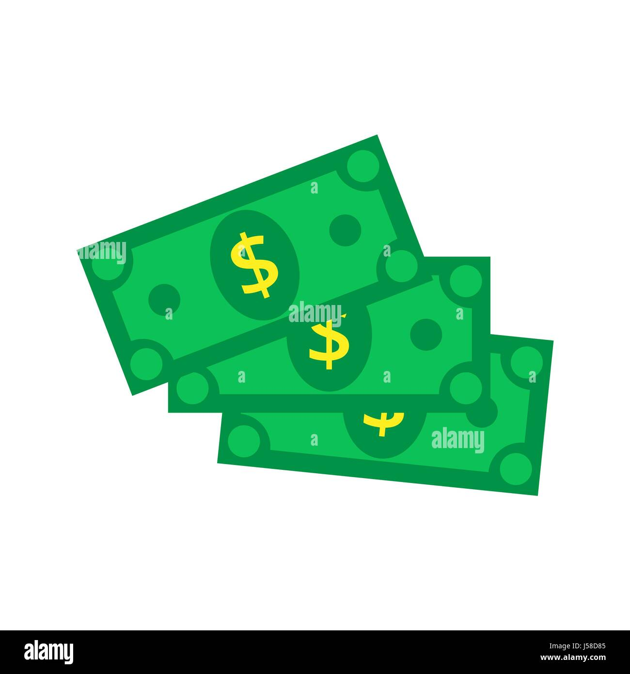 Cash Icon in flat style. Dollar banknote green. Vector illustrat - Stock Vector