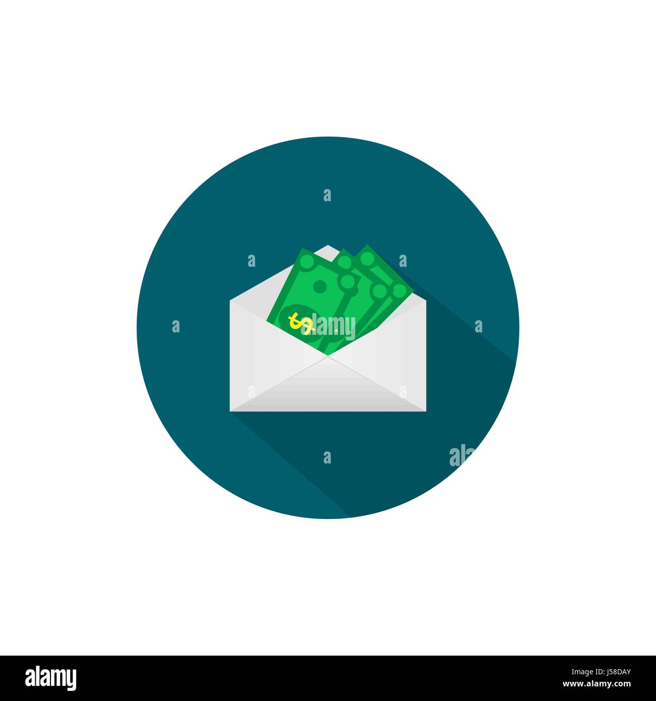 Money in the mail envelope. Cash Icon in flat style. Dollar bank - Stock Vector