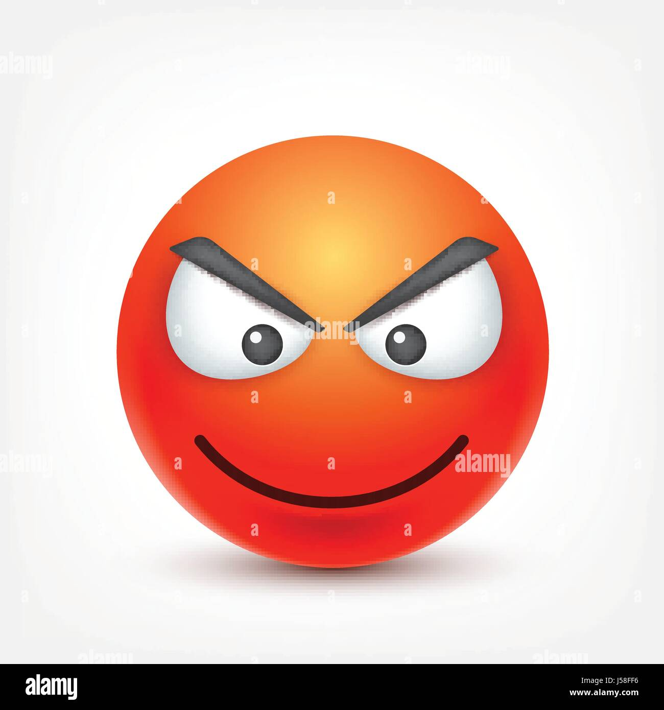 smiley,angry emoticon. red face with emotions. facial expression. 3d