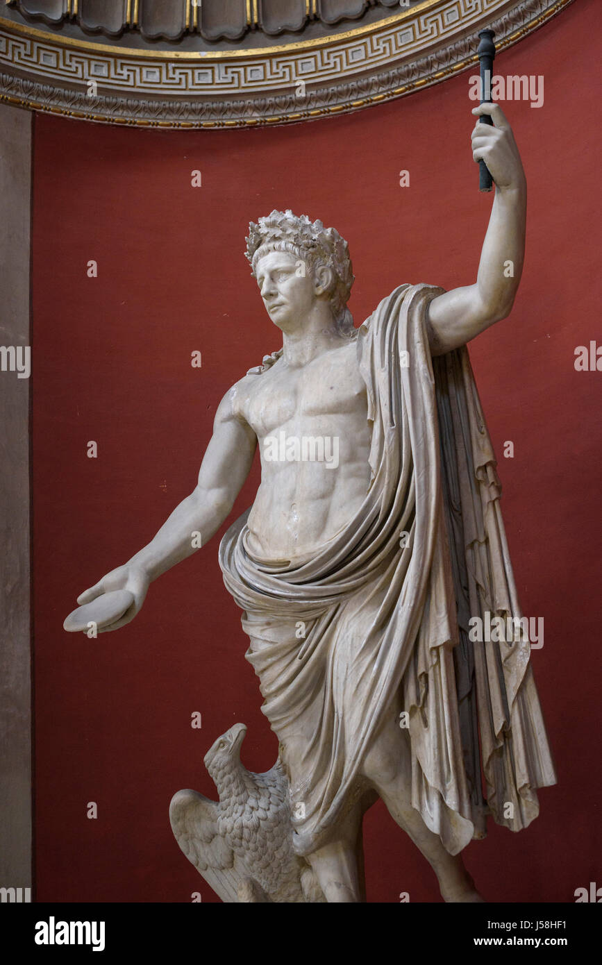 Rome. Italy. Statue of Roman Emperor Claudius shown as Jupiter, wearing a civic crown of Oak leaves, Pio Clementino - Stock Image