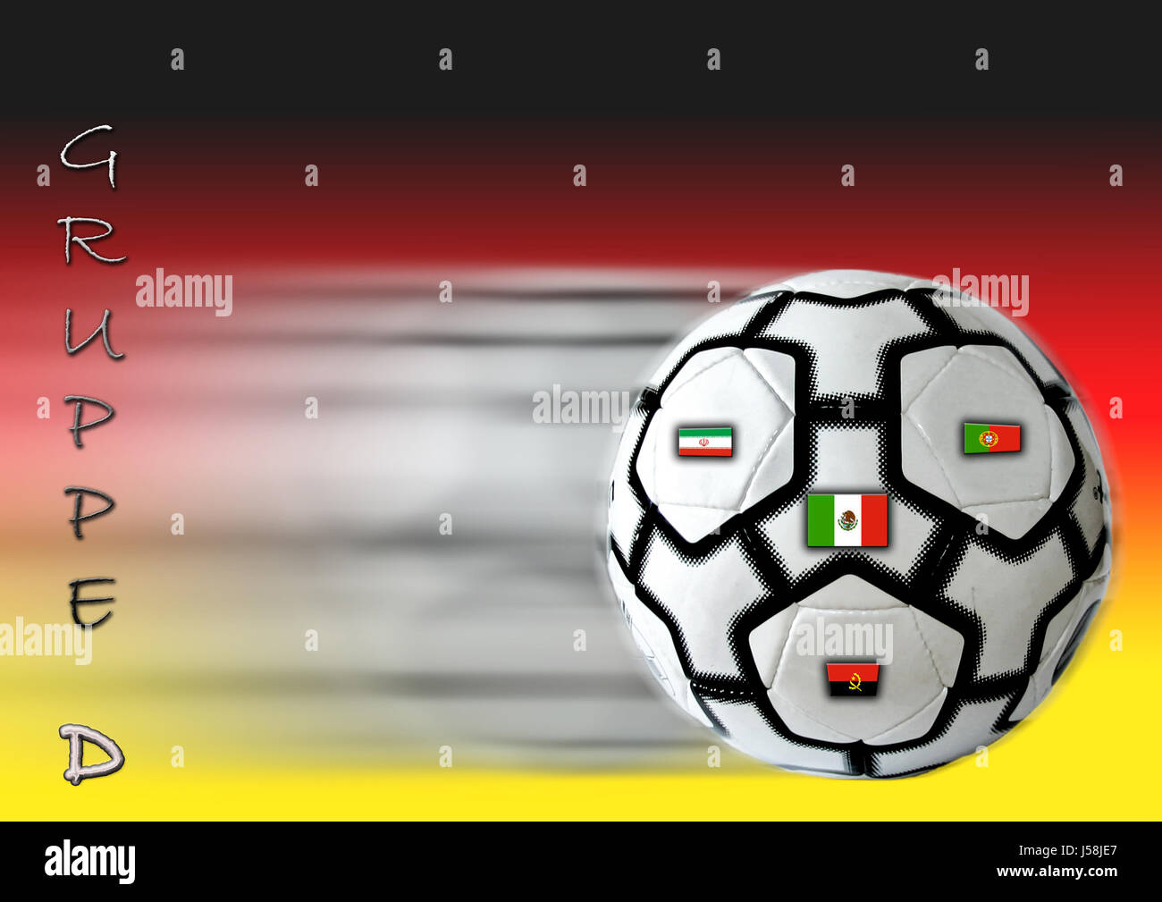 sport sports ball ball sport photo composition Germany flag flag portugal Stock Photo
