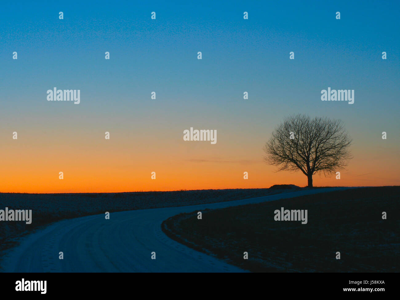 way at the blue hour - Stock Image