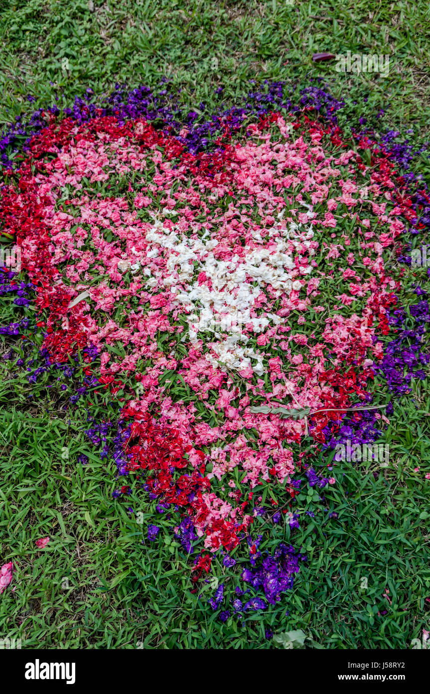 Heart Made out of Colorful Flowers at Balinese Wedding - Stock Image
