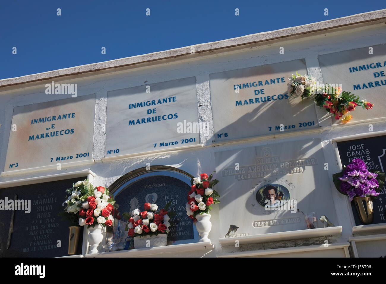 Tarifa, Costa de la Luz, Cadiz Province, Andalusia, southern Spain.  Niches in Tarifa cemetery containing the remains Stock Photo