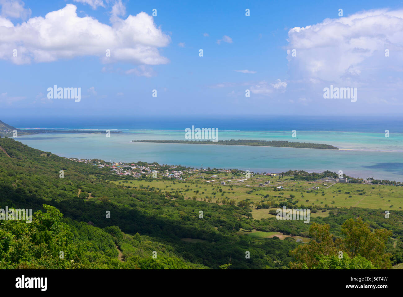Mauritius. View to Ile aux Benitiers from terrace of Restaurant le Chamarel. - Stock Image
