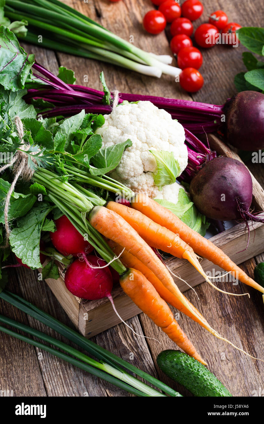 Harvest still life. Food composition of fresh organic vegetables, beets and carrots, cauliflower and rudish on rustic Stock Photo