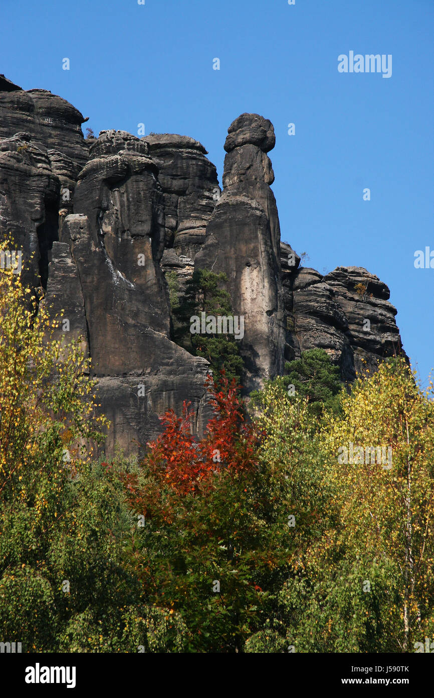 tree trees mountains rock colour myth saw scenery countryside nature colors - Stock Image