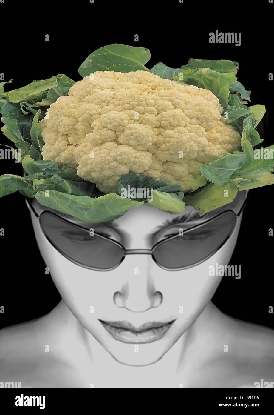 woman,face,memories,cauliflower,memory,brain,head,memory Stock Photo