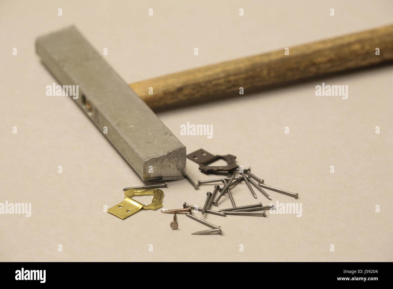 Still Life Tool Metal Nail Handicraft Materials Sledges Work Job
