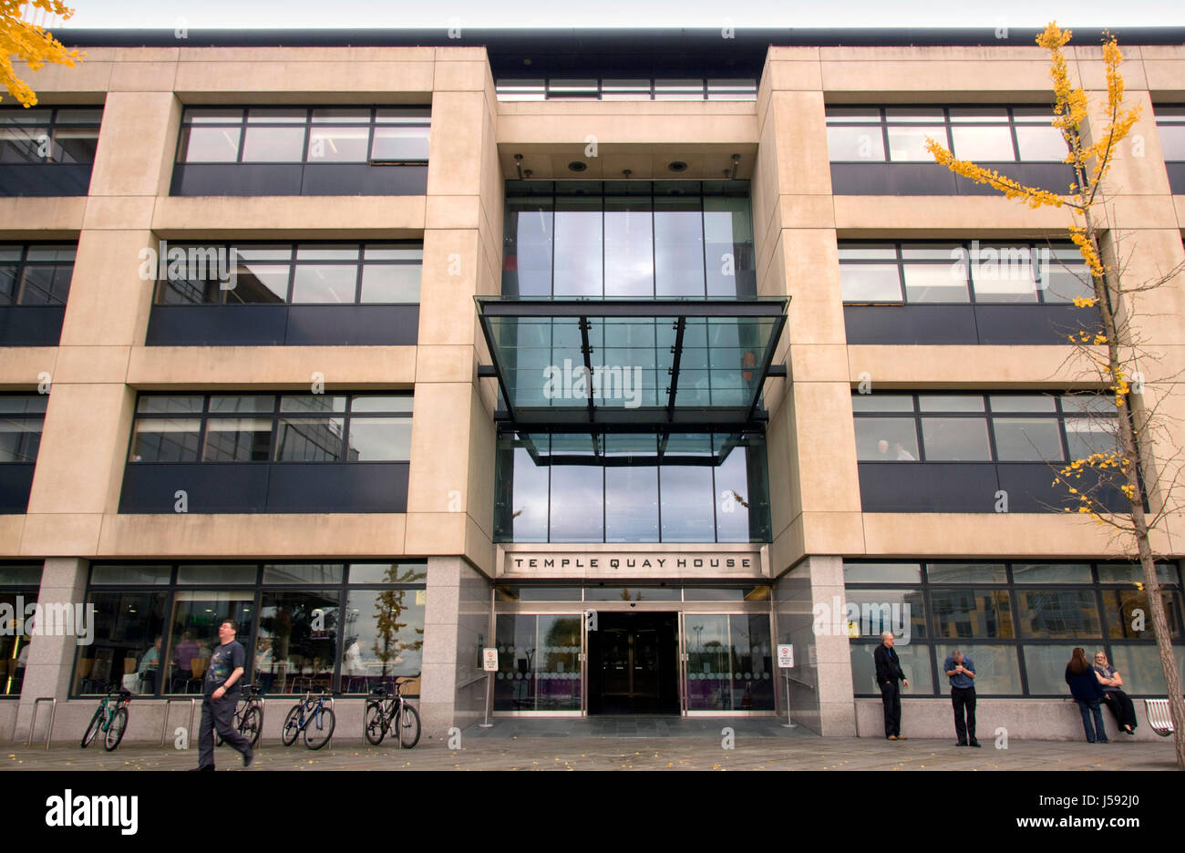 The Square, Temple Quay, Bristol, showing Temple Quay House. - Stock Image