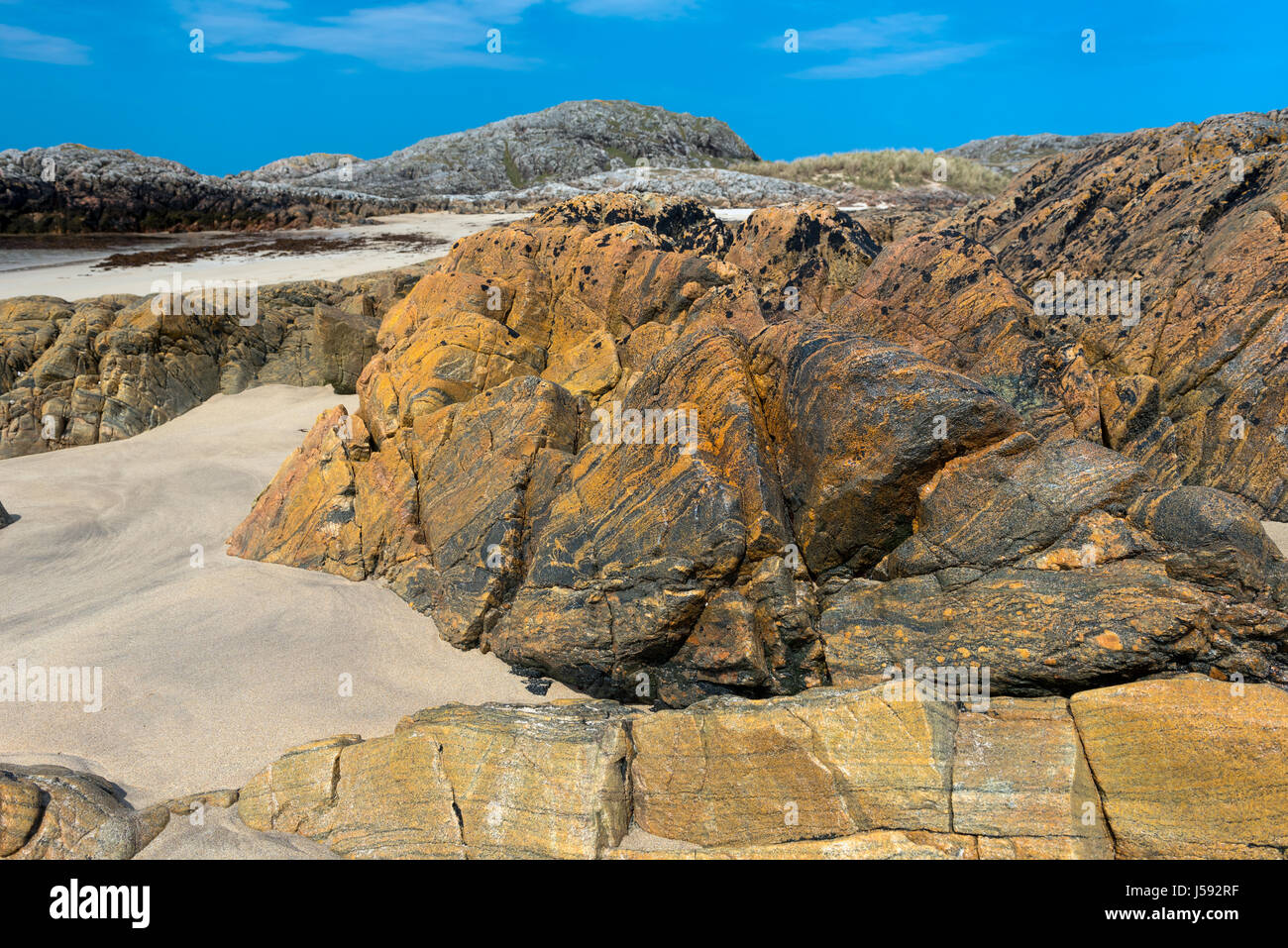 Rock formation at Torastan Beach on The Isle of Coll - Stock Image