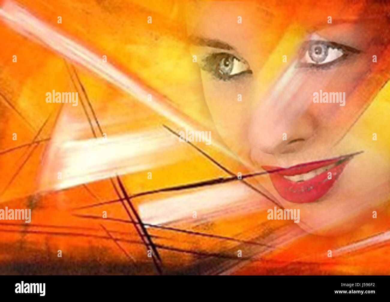 woman portrait sunset painting abstract painted photo picture image copy Stock Photo