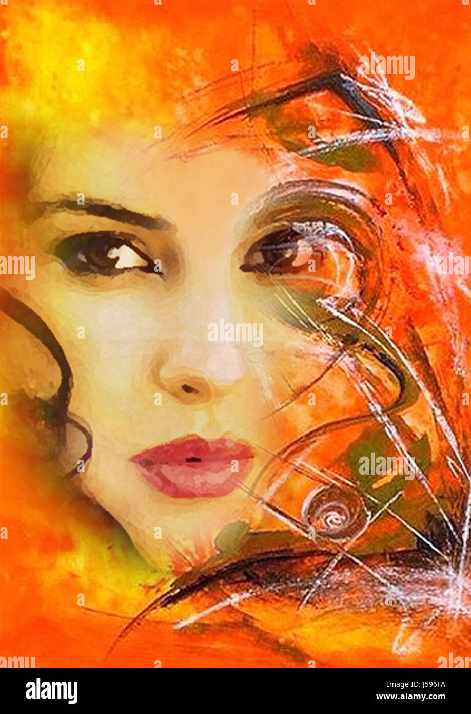 woman portrait painting fire conflagration flame abstract painted photo picture Stock Photo