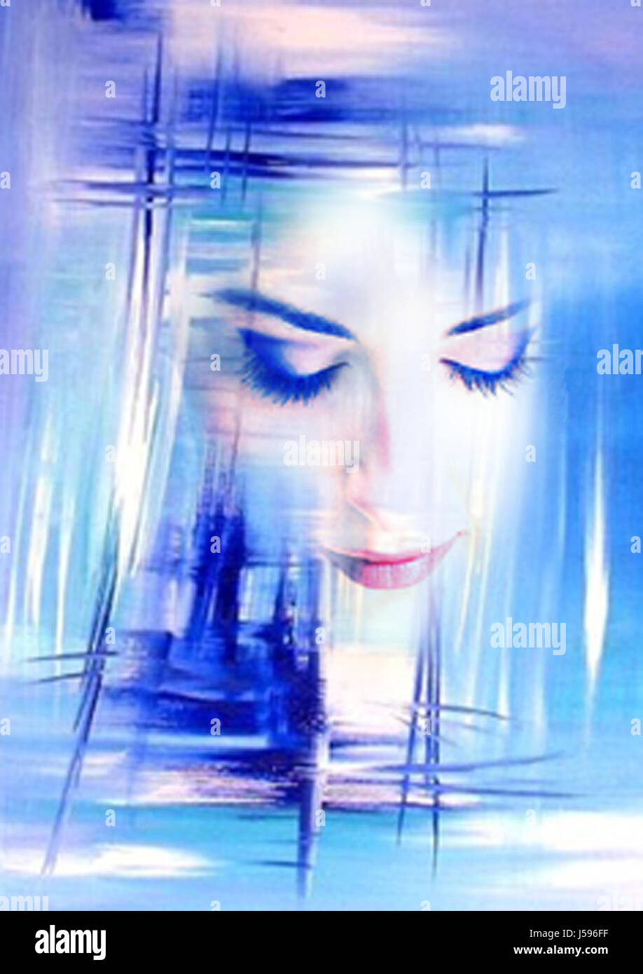 woman blue portrait painting abstract painted photo picture image copy Stock Photo