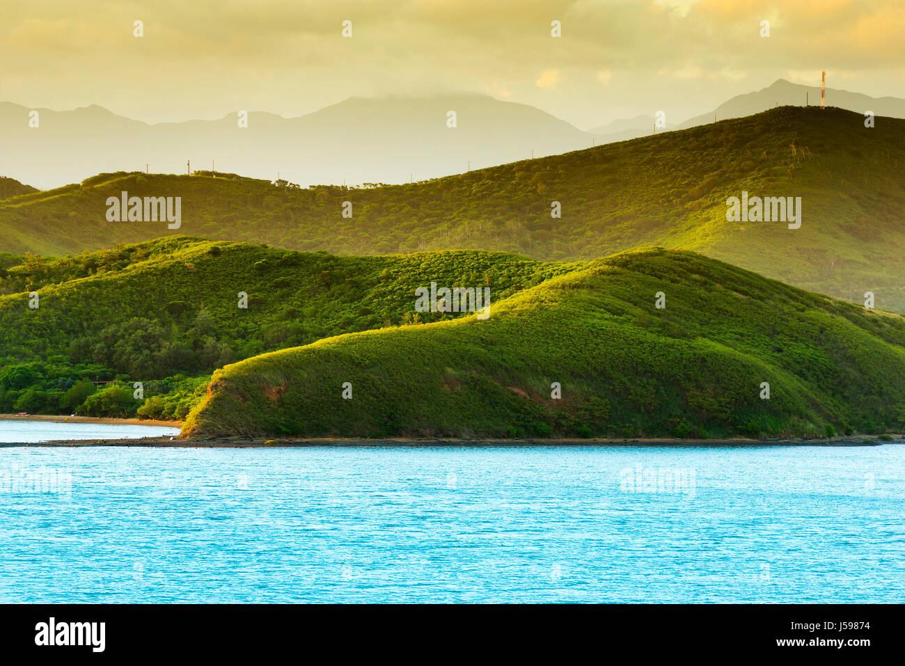 Sunset landscape on the hills around Noumea, New Caledonia - Stock Image