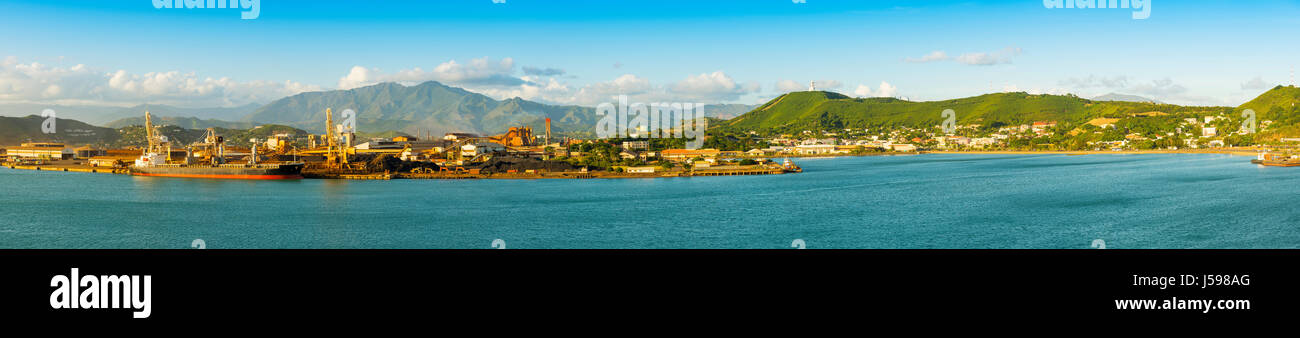Noumea, capital of New Caledonia panoramic view from the bay - Stock Image
